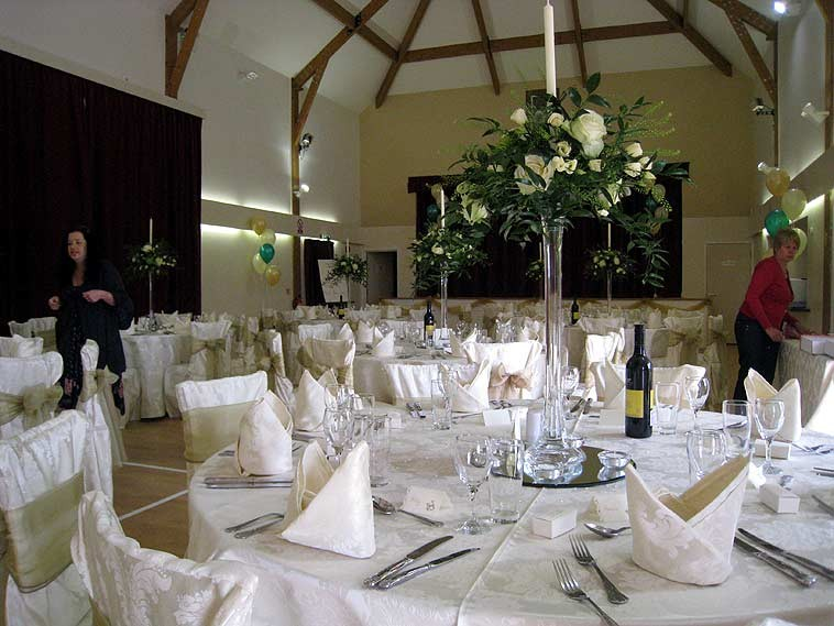 Hall with wedding places set